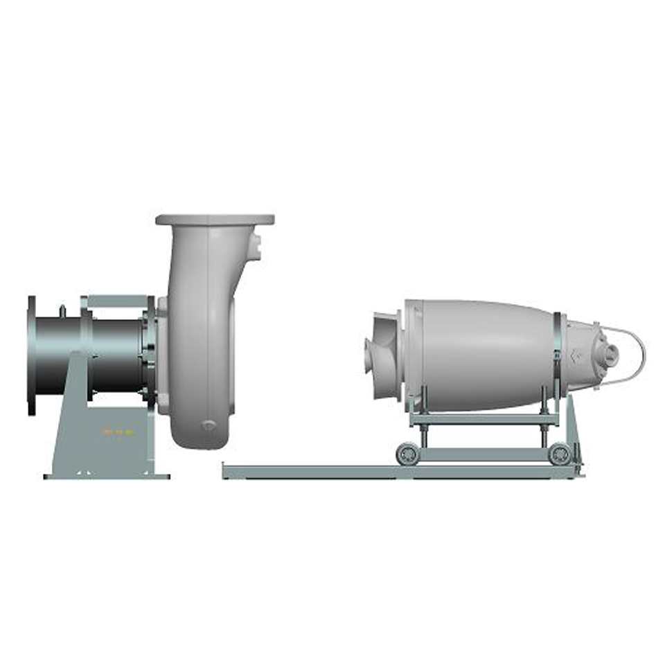 Service cart and rails, Horizontal dry pump installation