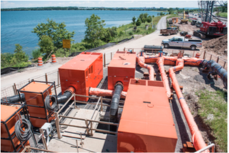 The complete Xylem solution – a 30MGD bypass system – is captured here with the city of Syracuse, New York, in the background. The solution comprises Godwin and Flygt brand equipment, including custom pipework.